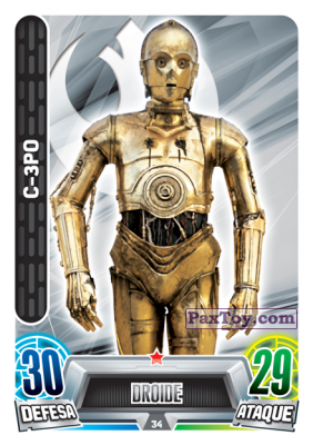 PaxToy.com - 034 C-3PO из Topps: Star Wars Force Attax Heroes y Villanos from Continente