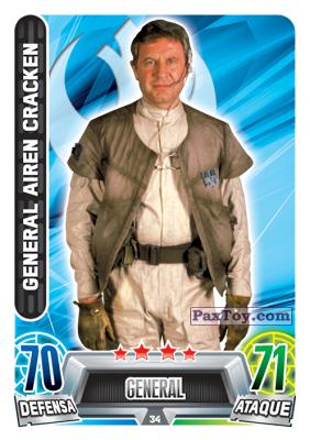 PaxToy.com  Карточка / Card 034 General Airen Cracken из Carrefour: Star Wars Heroes y Villanos Force Attax