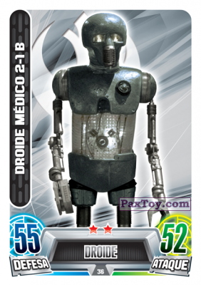PaxToy.com - 036 Droide Medico 2-18 из Topps: Star Wars Force Attax Heroes y Villanos from Continente