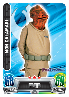 PaxToy.com - 036 Mon Calamari из Topps: Star Wars Heroes y Villanos (Force Attax) from Carrefour