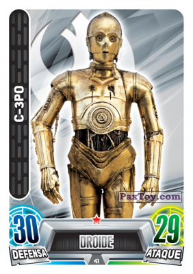 PaxToy.com - 041 C-3po из Topps: Star Wars Heroes y Villanos (Force Attax) from Carrefour