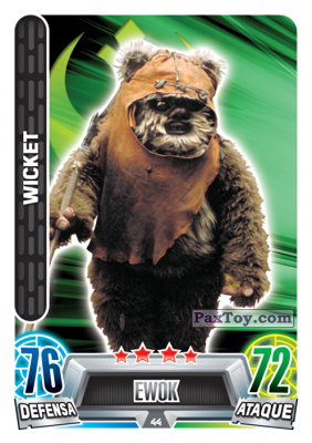 PaxToy.com - 044 Wicket из Carrefour: Star Wars Heroes y Villanos Force Attax