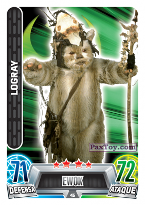 PaxToy.com - 045 Logray из Carrefour: Star Wars Heroes y Villanos Force Attax