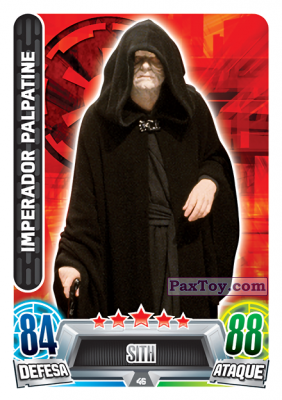 PaxToy.com - 046 Imperador Palpatine из Topps: Star Wars Force Attax Heroes y Villanos from Continente
