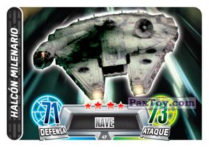 PaxToy.com  Карточка / Card 047 Halcon Milenario из Carrefour: Star Wars Heroes y Villanos Force Attax