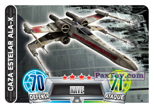 PaxToy.com  Карточка / Card 048 Caza Estelar Ala-X из Carrefour: Star Wars Heroes y Villanos Force Attax