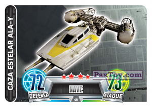 PaxToy.com  Карточка / Card 049 Caza Estelar Ala-Y из Carrefour: Star Wars Heroes y Villanos Force Attax
