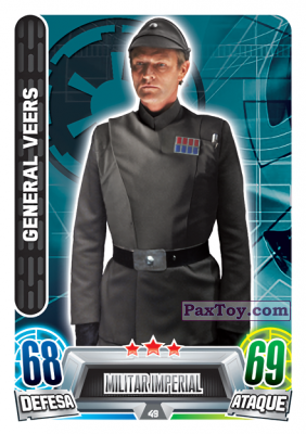 PaxToy.com - 049 General Veers из Topps: Star Wars Force Attax Heroes y Villanos from Continente