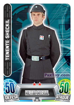 PaxToy.com - 050 Tenente Sheckil из Topps: Star Wars Force Attax Heroes y Villanos from Continente