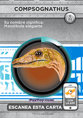 PaxToy.com - 06 Compsognathus (Сторна-back) из Supermercados DIA: Jurassic World - Cards
