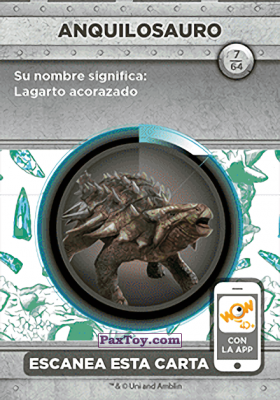 PaxToy.com - 07 Anquilosauro (Сторна-back) из Supermercados DIA: Jurassic World - Cards