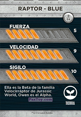 PaxToy.com - 08 Raptor - Blue (Сторна-back) из Supermercados DIA: Jurassic World - Cards