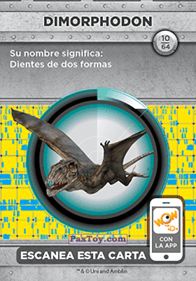 PaxToy.com - 10 Dimorphodon (Сторна-back) из Supermercados DIA: Jurassic World - Cards
