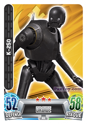 PaxToy.com - 102 K-2S0 из Topps: Star Wars Heroes y Villanos (Force Attax) from Carrefour