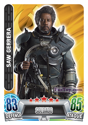 PaxToy.com - 105 Saw Gerrera из Topps: Star Wars Heroes y Villanos (Force Attax) from Carrefour