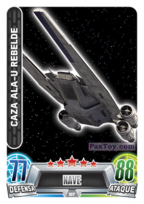 PaxToy.com - 107 Caza Ala-U Rebelde из Topps: Star Wars Heroes y Villanos (Force Attax) from Carrefour