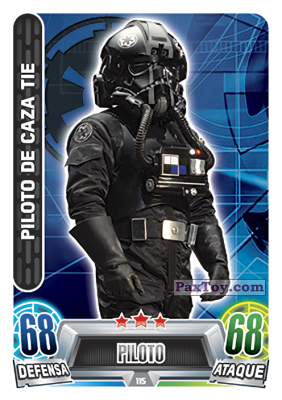 PaxToy.com - 115 Piloto De Caza Tie из Topps: Star Wars Heroes y Villanos (Force Attax) from Carrefour