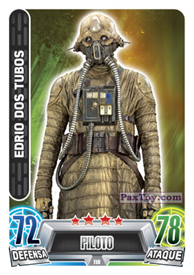 PaxToy.com - 118 Edrio Dos Tubos из Topps: Star Wars Heroes y Villanos (Force Attax) from Carrefour
