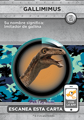 PaxToy.com - 12 Gallimimus (Сторна-back) из Supermercados DIA: Jurassic World - Cards