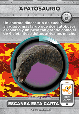 PaxToy.com - 14 Apatosaurio (Сторна-back) из Supermercados DIA: Jurassic World - Cards
