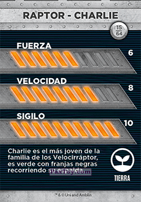PaxToy.com - 15 Raptor - Charlie (Сторна-back) из Supermercados DIA: Jurassic World - Cards