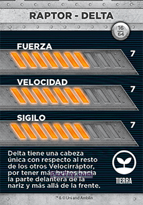 PaxToy.com - 16 Raptor - Delta (Сторна-back) из Supermercados DIA: Jurassic World - Cards
