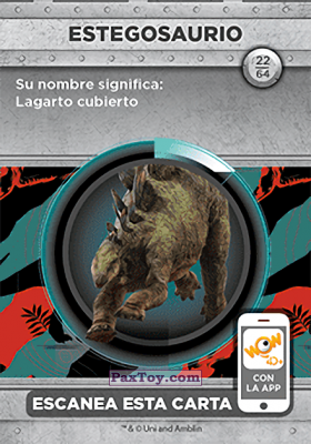 PaxToy.com - 22 Estegosaurio (Сторна-back) из Supermercados DIA: Jurassic World - Cards