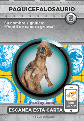 PaxToy.com - 25 Paquicefalosaurio (Сторна-back) из Supermercados DIA: Jurassic World - Cards