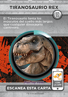 PaxToy.com - 27 Tiranosaurio Rex (Сторна-back) из Supermercados DIA: Jurassic World - Cards