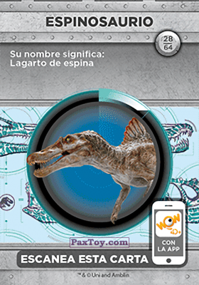 PaxToy.com - 28 Espinosaurio (Сторна-back) из Supermercados DIA: Jurassic World - Cards