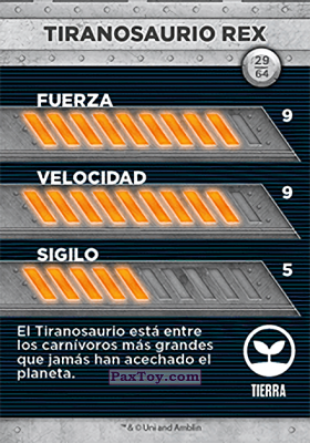 PaxToy.com - 29 Tiranosaurio Rex (Сторна-back) из Supermercados DIA: Jurassic World - Cards