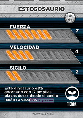 PaxToy.com - 30 Estegosaurio (Сторна-back) из Supermercados DIA: Jurassic World - Cards