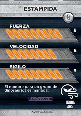 PaxToy.com - 34 Estampida (Сторна-back) из Supermercados DIA: Jurassic World - Cards