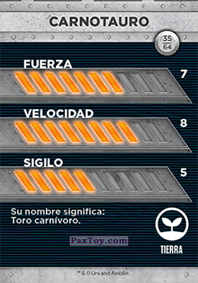 PaxToy.com - 35 Carnotauro (Сторна-back) из Supermercados DIA: Jurassic World - Cards