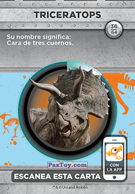 PaxToy.com - 36 Triceratops (Сторна-back) из Supermercados DIA: Jurassic World - Cards