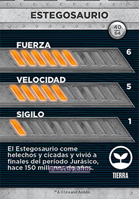 PaxToy.com - 40 Estegosaurio (Сторна-back) из Supermercados DIA: Jurassic World - Cards