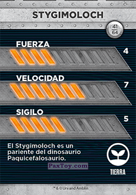 PaxToy.com - 41 Stygimoloch (Сторна-back) из Supermercados DIA: Jurassic World - Cards
