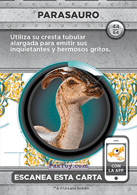 PaxToy.com - 44 Parasauro (Сторна-back) из Supermercados DIA: Jurassic World - Cards