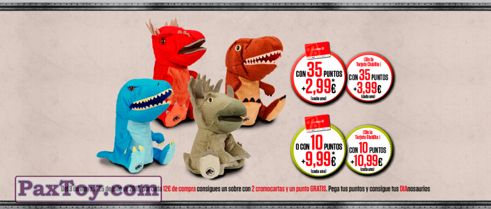 PaxToy Supermercados DIA 2018 Jurassic World Toys (Muneco peluche marioneta)