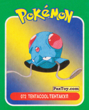 PaxToy.com  Карточка / Card 072 Tentacool / Тентакул из Pokemon mini BOX