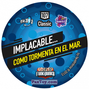 PaxToy.com - Фишка / POG / CAP / Tazo 107 Monty (Сторна-back) из Gamesa: Super Funki Punky