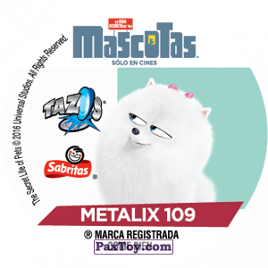 PaxToy.com - Фишка / POG / CAP / Tazo 109 Max & Duke (METAL) (Сторна-back) из Cheetos: La Vida Secreta De Tus Mascotas