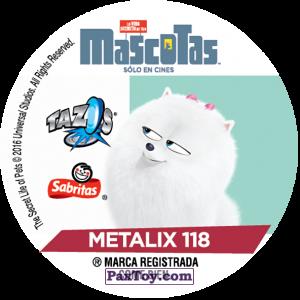 PaxToy.com - Фишка / POG / CAP / Tazo 118 Abue (METAL) (Сторна-back) из Cheetos: La Vida Secreta De Tus Mascotas