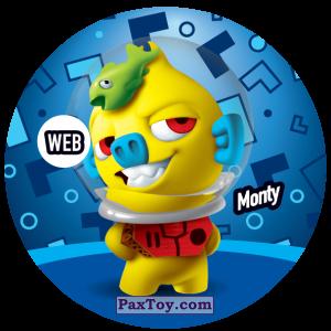 PaxToy.com  Фишка / POG / CAP / Tazo 230 Monty (WEB) из Gamesa: Super Funki Punky