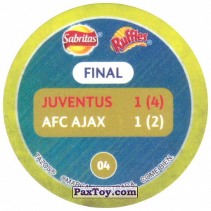 PaxToy.com - Фишка / POG / CAP / Tazo 04 1996 Rome (Сторна-back) из Sabritas: Football Champions League 2019
