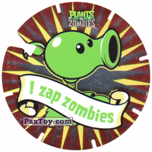 PaxToy.com  Фишка / POG / CAP / Tazo 04 Peashooter из Gamesa: Plants Vs. Zombies TAZOS