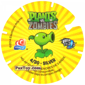 PaxToy.com - Фишка / POG / CAP / Tazo 04 Peashooter (Сторна-back) из Gamesa: Plants Vs. Zombies TAZOS