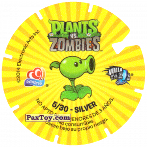 PaxToy.com - 05 burnt Zombie (Сторна-back) из Gamesa: Plants Vs. Zombies TAZOS