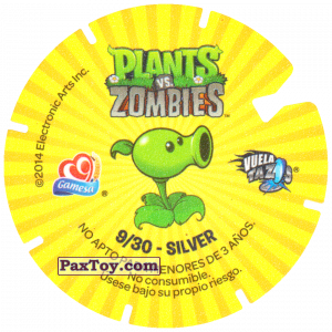 PaxToy.com - Фишка / POG / CAP / Tazo 09 Peashooter Vs Zombie (Сторна-back) из Gamesa: Plants Vs. Zombies TAZOS
