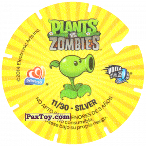 PaxToy.com - 11 Zombies head in hands (Сторна-back) из Gamesa: Plants Vs. Zombies TAZOS